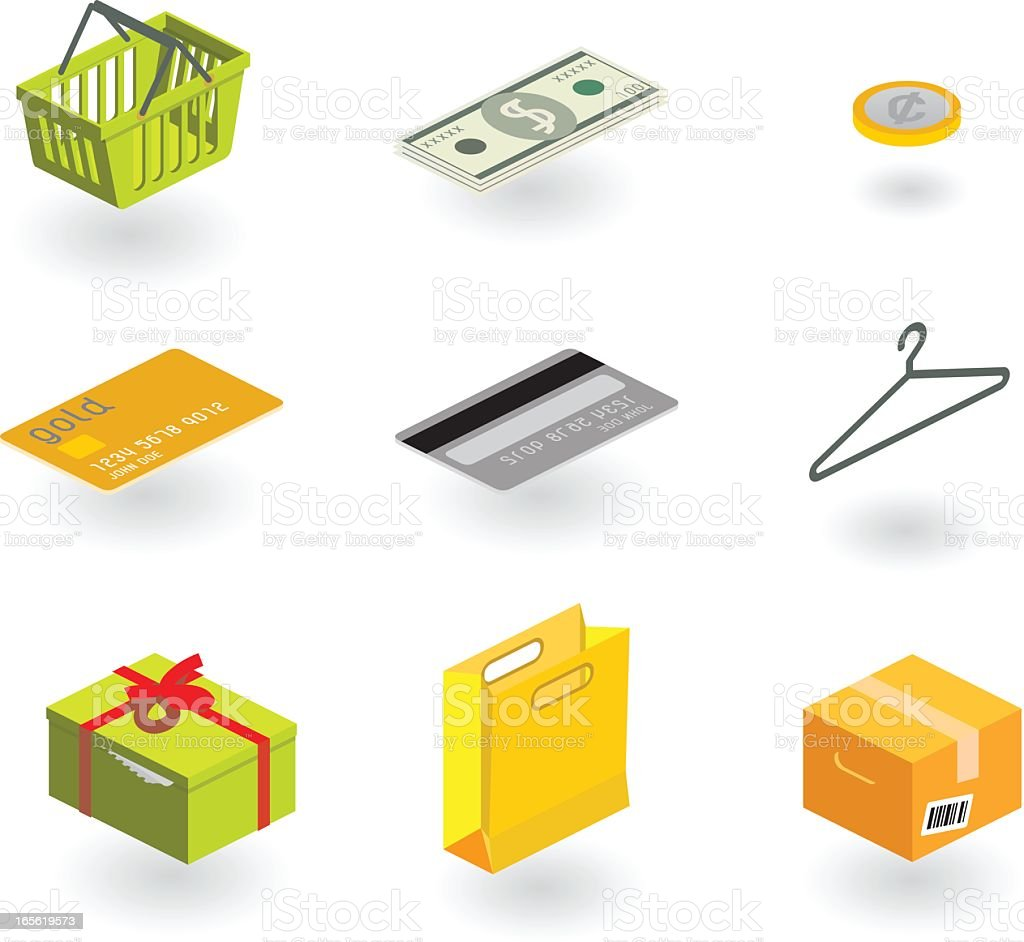 shopping icon set (isometric) royalty-free stock vector art