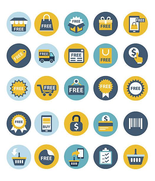 illustrations, cliparts, dessins animés et icônes de shopping icône ensemble - gratuit