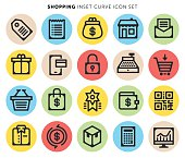 E-commerce and retail shopping thin lines icons set.