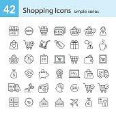 Vector shopping icon set. Simple series