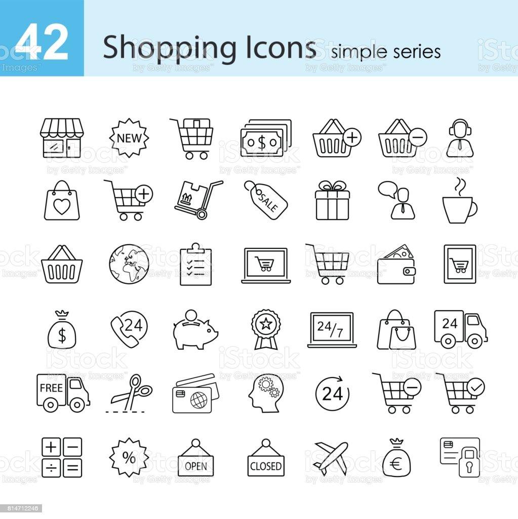 Shopping-icon-set – Vektorgrafik
