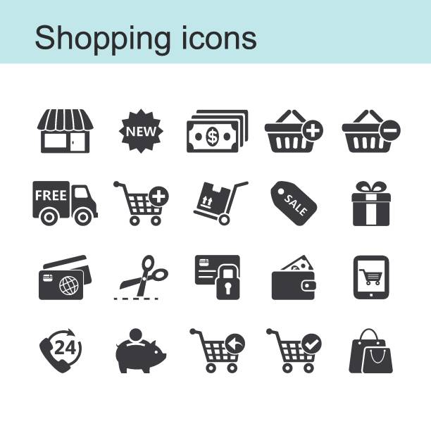 shopping icon set - handel detaliczny stock illustrations