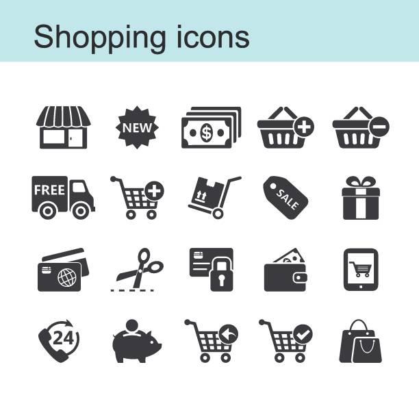 ショッピングのアイコンを設定します - 小売販売員点のイラスト素材/クリップアート素材/マンガ素材/アイコン素材
