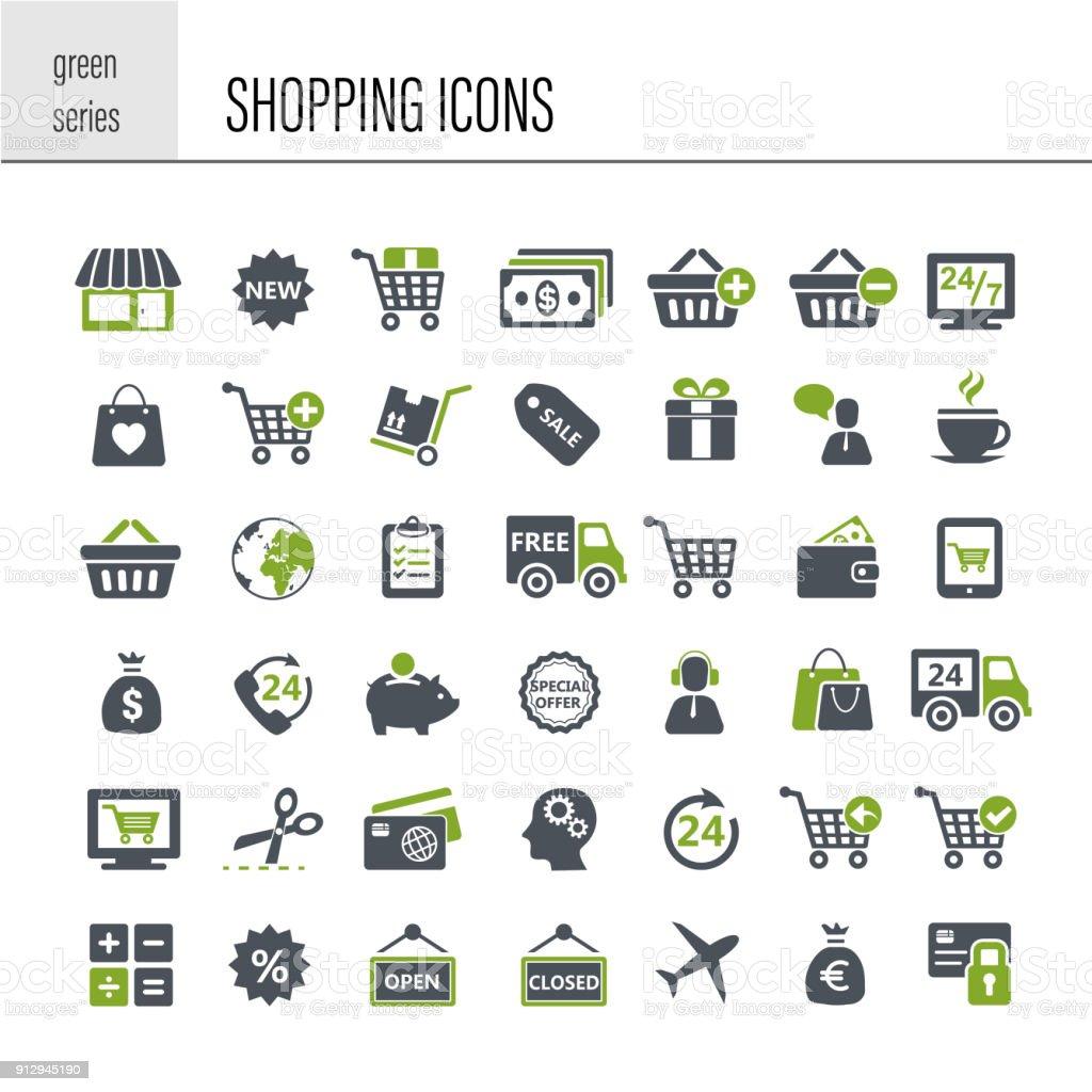 Shopping icon set - Royalty-free Assistência arte vetorial