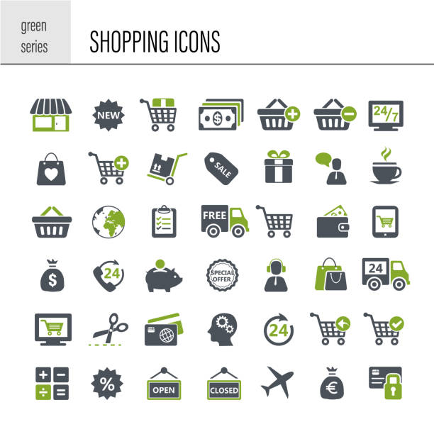 illustrazioni stock, clip art, cartoni animati e icone di tendenza di shopping icon set - acquisti