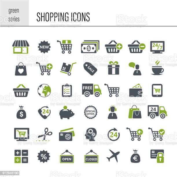 Shopping Icon Set - Arte vetorial de stock e mais imagens de Assistência