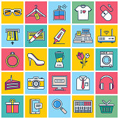 Shopping Illustration Icons Set. Flat Line Style.