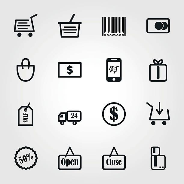 illustrazioni stock, clip art, cartoni animati e icone di tendenza di shopping icona - prodotti supermercato