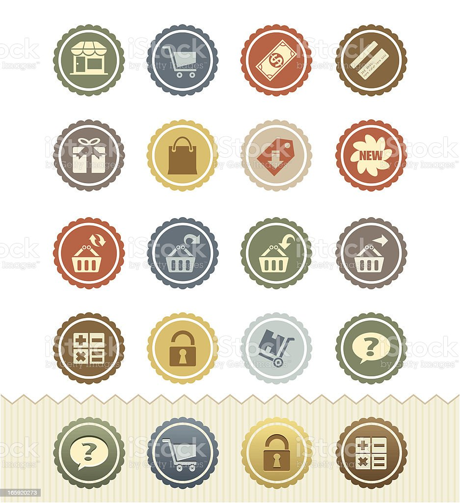 Shopping Icons 1 : Vintage Badge Series royalty-free stock vector art