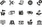 Simple shopping related vector icons for your design and application. Files included: vector EPS, JPG, PNG and icons with euro (€) symbol.