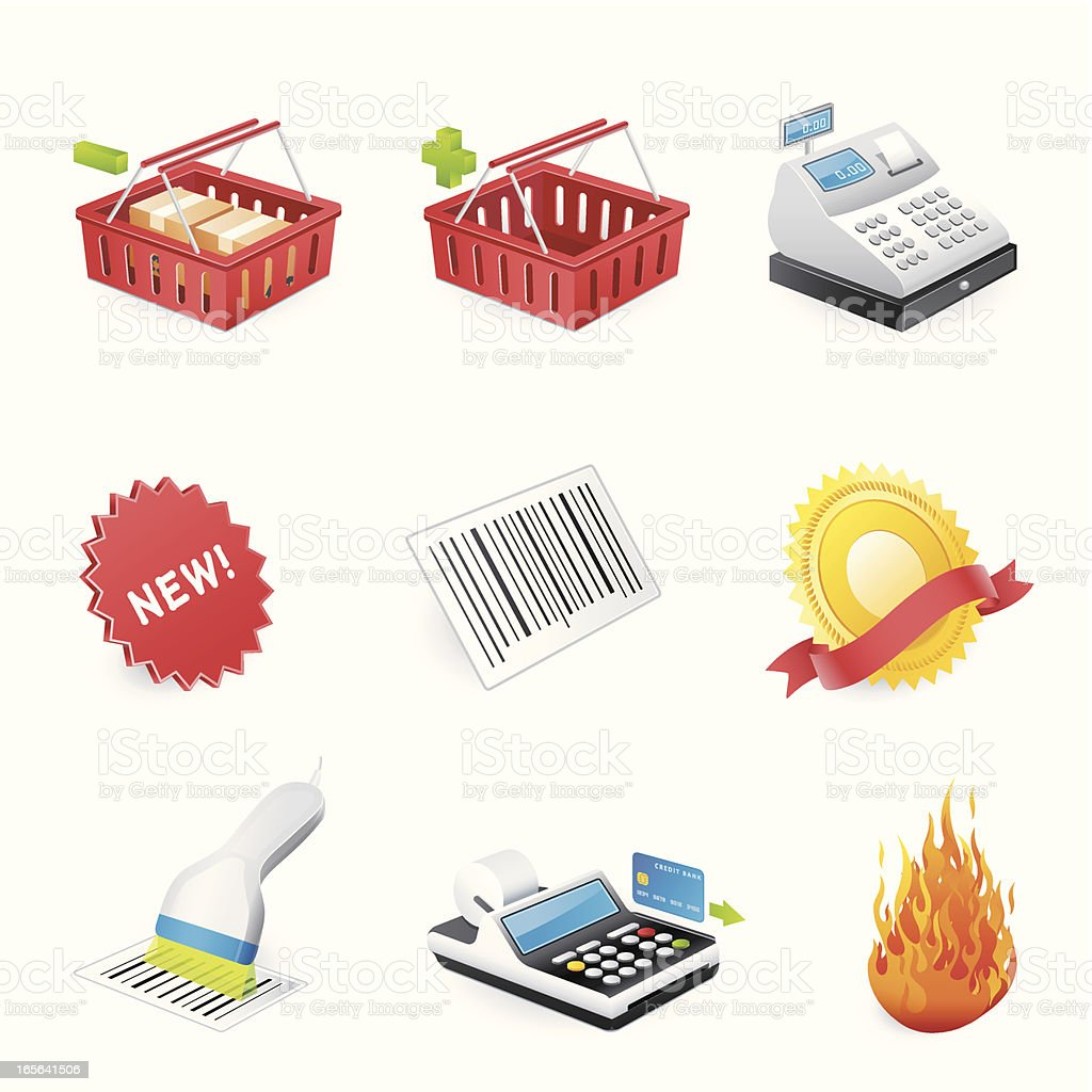 Shopping icons - 3D series royalty-free stock vector art