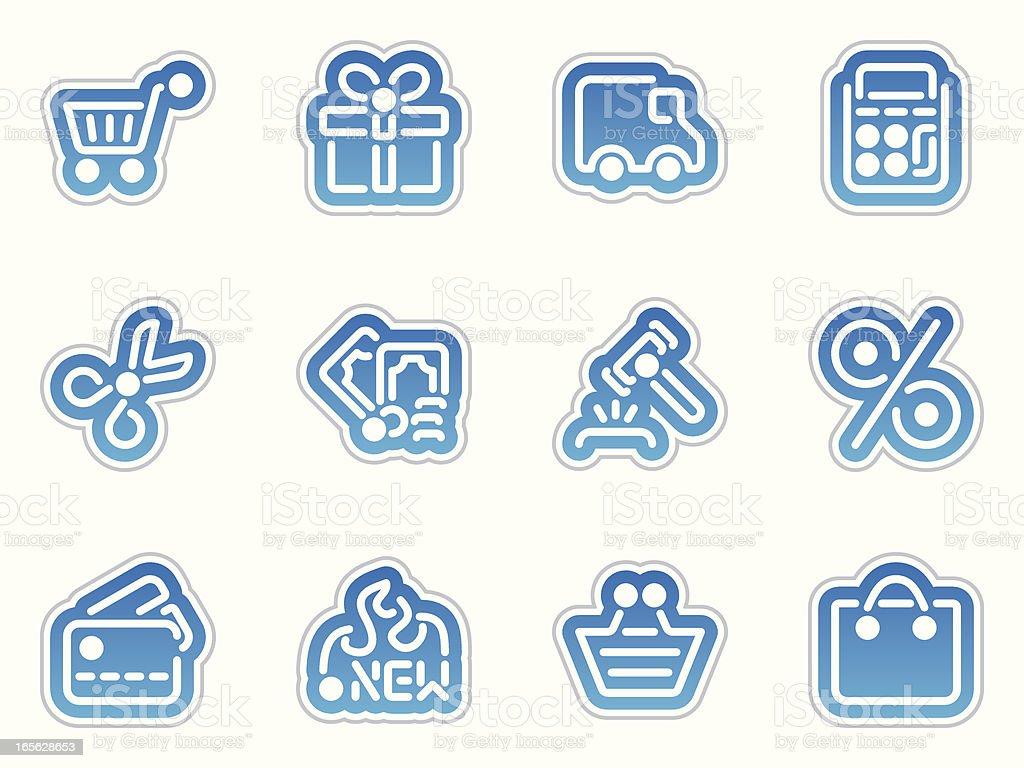 shopping icons - azul frontera royalty-free stock vector art