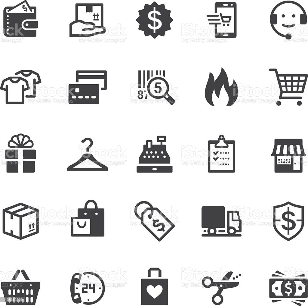 Shopping icons - Black series vector art illustration