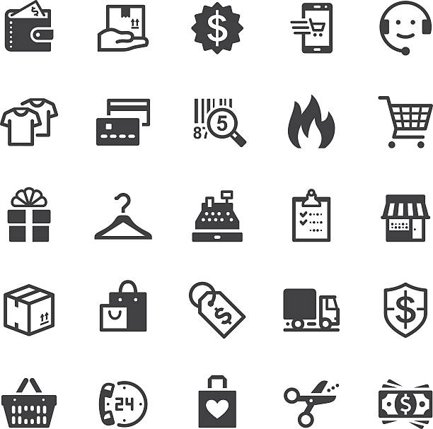 Shopping icons - Black series Vector icons. Black series. One icon consists of a single object. Files included: Vector EPS 10, JPEG 3000 x 3000 px, transparent PNG, AI 17 change purse stock illustrations