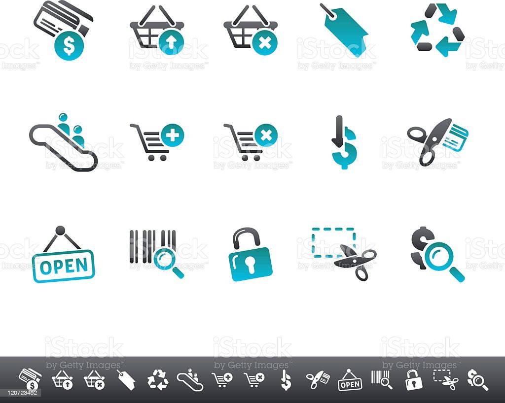 Shopping Icons   Blue Grey royalty-free stock vector art