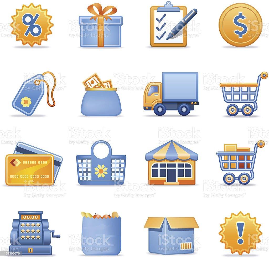 Shopping icons. Blue orange series. royalty-free stock vector art