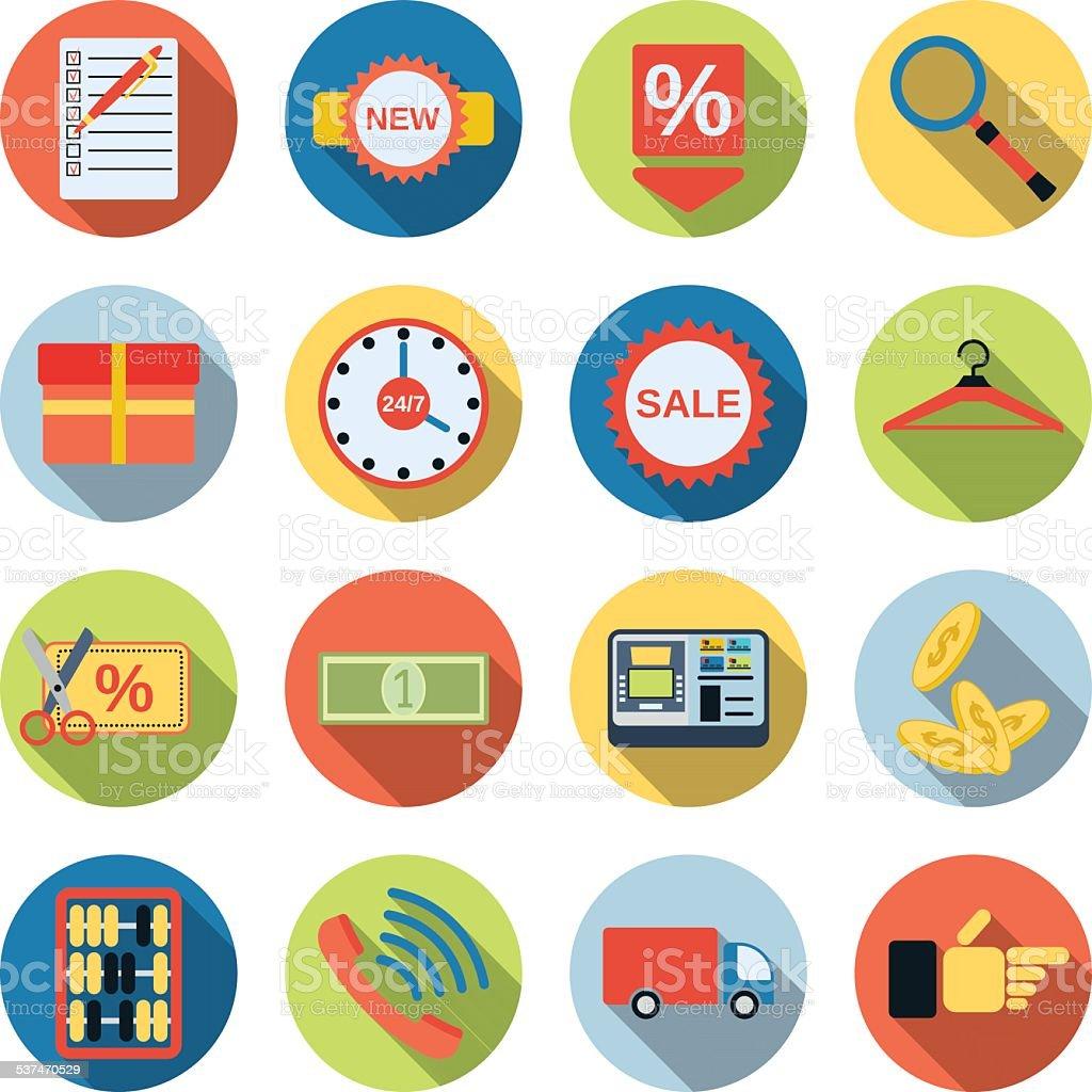 Shopping icons-Kollektion Lizenzfreies shopping iconskollektion stock vektor art und mehr bilder von 2015