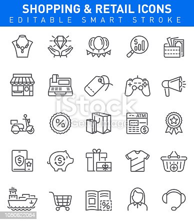 Retail Icons with sale, basket, jewelry, store symbols