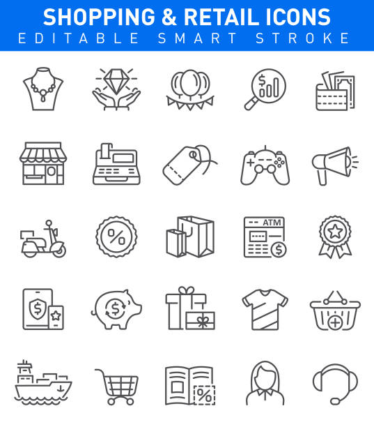 shopping icons. editable stroke - shopping stock illustrations, clip art, cartoons, & icons