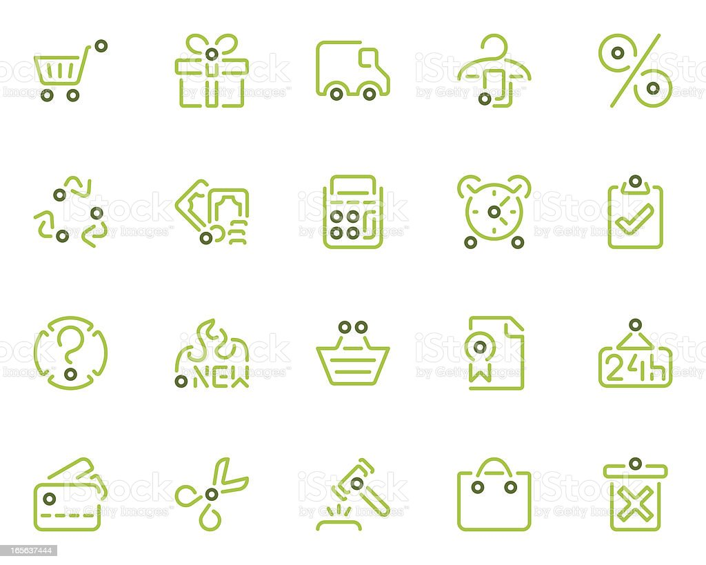 shopping icons - Es Flores Series royalty-free stock vector art