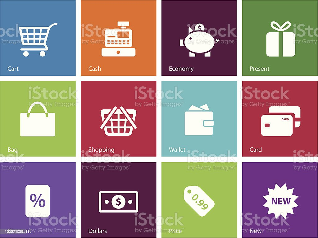 Shopping icons | Metro Style royalty-free stock vector art