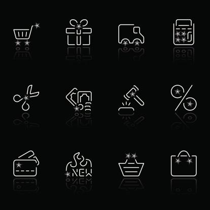shopping icons - negro estrella