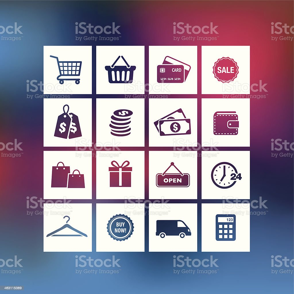 Shopping Icons on a Blurred Background royalty-free stock vector art