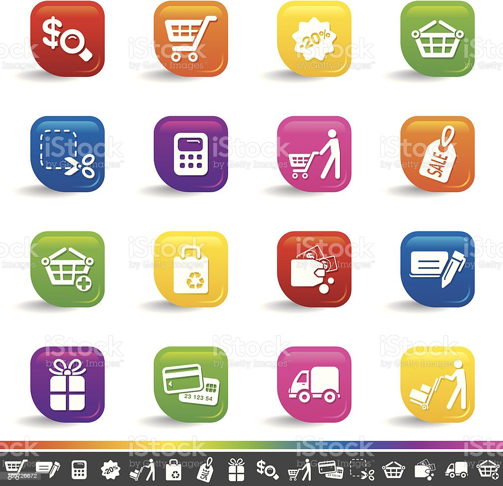 Shopping icons | Rainbow Series royalty-free shopping icons rainbow series stock vector art & more images of basket