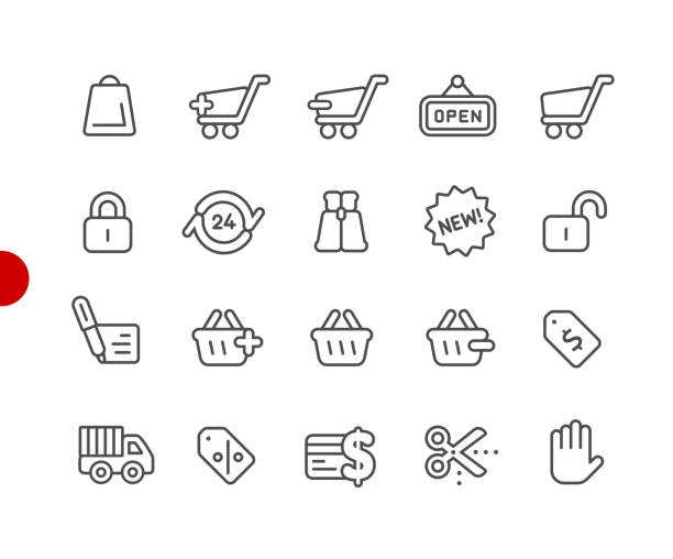 shopping icons // red point series - zbiornik wytworzony przedmiot stock illustrations
