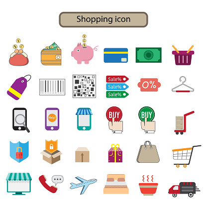 shopping icons set cartoon cute concept on white background.vector illustration