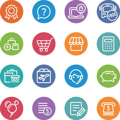 Shopping Icons Set - Circle Line Series