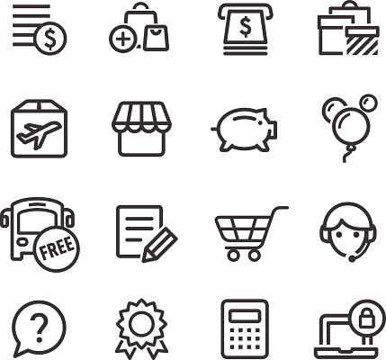 Shopping Icons Set - Line Series