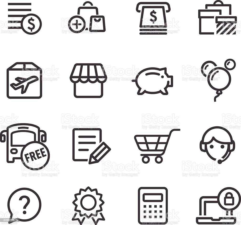 Shopping Icons Set - Line Series vector art illustration