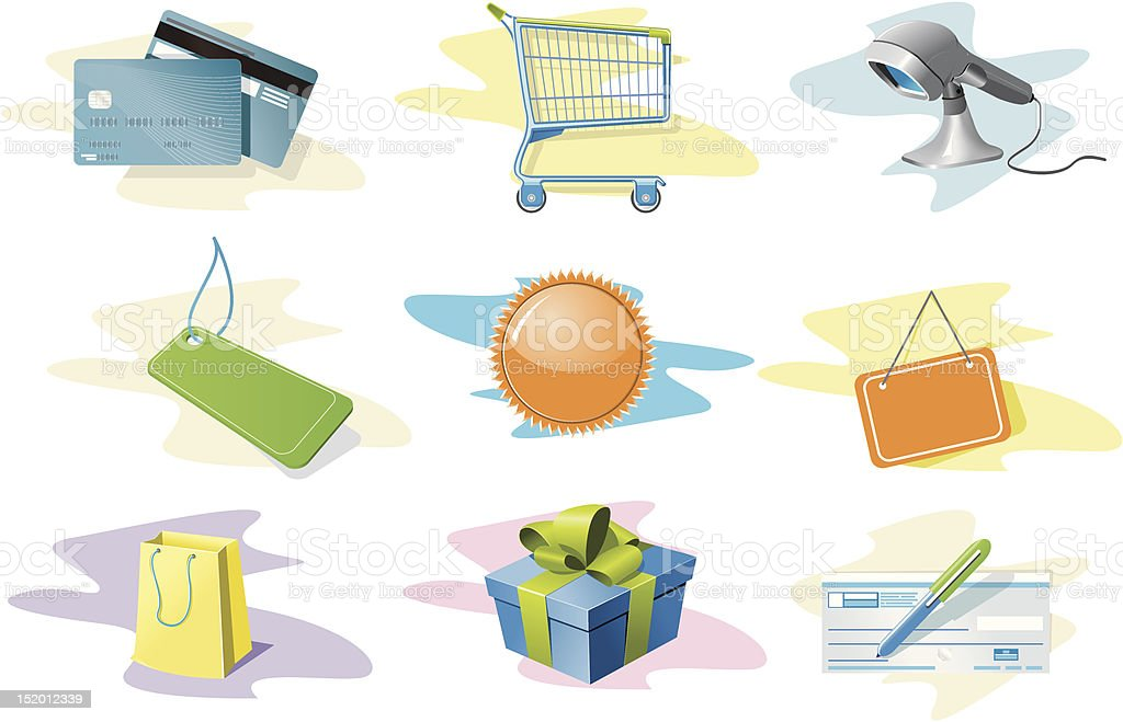 Shopping icons set royalty-free shopping icons set stock vector art & more images of bag