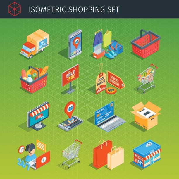ilustrações de stock, clip art, desenhos animados e ícones de shopping icons set - online shopping