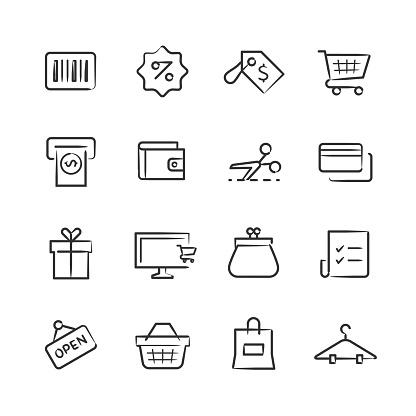 Shopping Icons — Sketchy Series