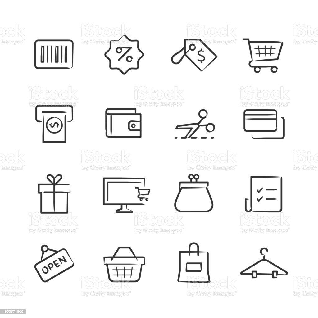 Shopping Icons — Sketchy Series vector art illustration