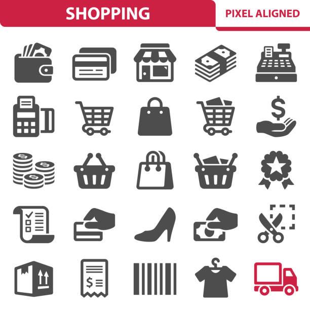 ikony zakupów - handel detaliczny stock illustrations