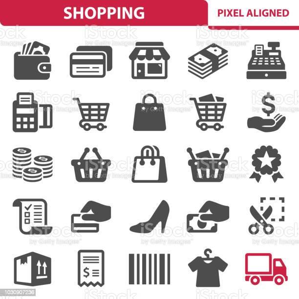 Shopping Icons - Arte vetorial de stock e mais imagens de Caixa
