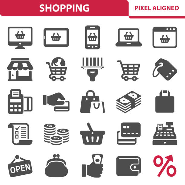 Shopping Icons Professional, pixel perfect icons, EPS 10 format. online shopping stock illustrations