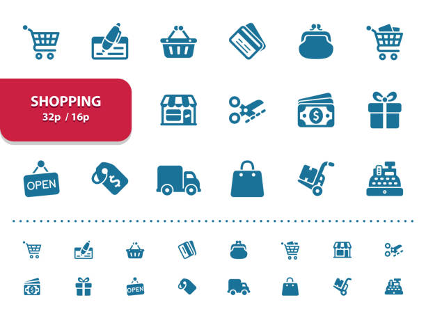 Shopping Icons (2x magnification for preview) Professional, pixel perfect icons, EPS 10 format, optimized for 32p and 16p (2x magnification for preview). change purse stock illustrations