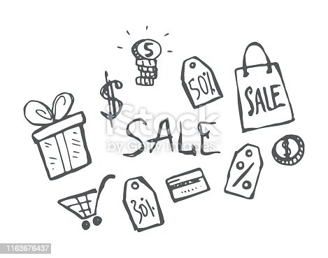 Shopping icons hand-drawn doodle set. Vector black and white contour isolated illustration.