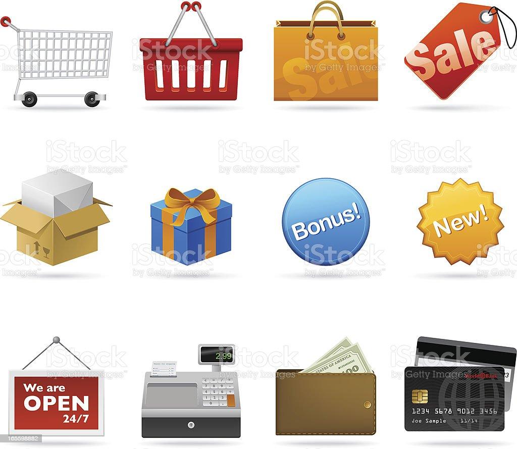 Iconos de compras ilustración de iconos de compras y más banco de imágenes de billete de banco libre de derechos