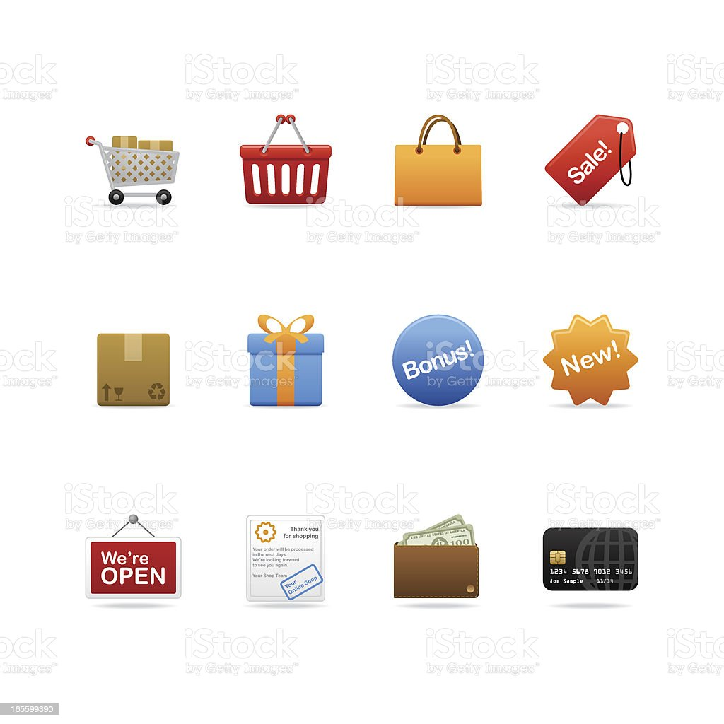 Shopping Icons Delicious matte looking shopping icons. Box - Container stock vector