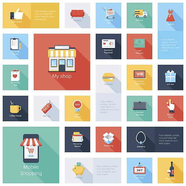 shopping symbole - geschäftliche aktivitäten stock-grafiken, -clipart, -cartoons und -symbole