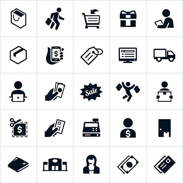 bildbanksillustrationer, clip art samt tecknat material och ikoner med shopping icons - on demand