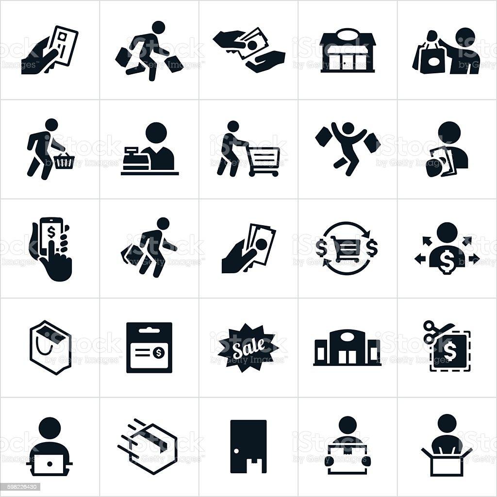 Ícones de compras  ilustração de Ícones de compras e mais banco de imagens de caixa registradora royalty-free