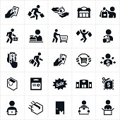 A set of icons symbolizing retail and other forms of shopping in store and online. The icons include shoppers shopping, buying, holding shopping bags, retail outlets, online shopping, package delivery and unboxing to name a few.