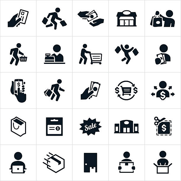 shopping icons - retail worker stock illustrations
