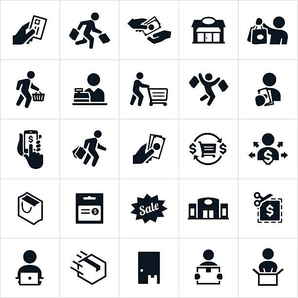illustrazioni stock, clip art, cartoni animati e icone di tendenza di icone dello shopping  - portare